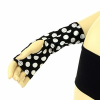 Fingerless Gloves in Black & White Polka Dot