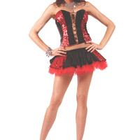 Black and Red Sequined Corset and Mini Skirt Pirate Costume
