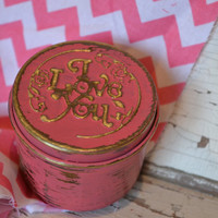 Trinket Box upcycled Hot Pink I Love You distressed bright housewares small ring box