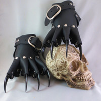 Black Leather Gothic Steampunk Claw Gauntlets / Gloves
