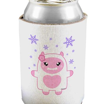 Cute Abominable Snowman Girl Yeti - Christmas Can / Bottle Insulator Coolers