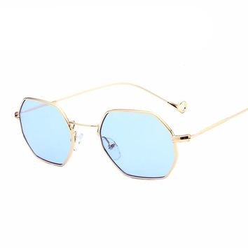 Hexagon Square Sunglasses Women Mirror New Designer Sun Glasses