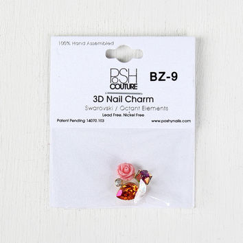 Multicolor Rose and Cube Cluster Reusable Nail Charm