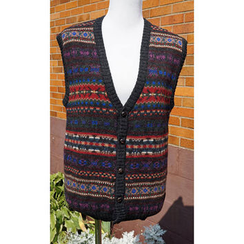 Vintage Wool Sweater Vest, Woolrich, Multi Color V-Neck, Button up, 80s, Unisex, Preppy, Transitional, Fall, Winter