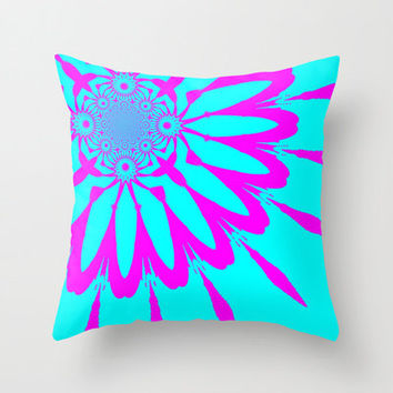 Pillow Cover, Throw Pillow, Turquoise & Fushia Modern Flower Pillow, Turquoise Pillow, Dorm Decor, Rainbow Pillow, Kids Decor, Bedroom Decor