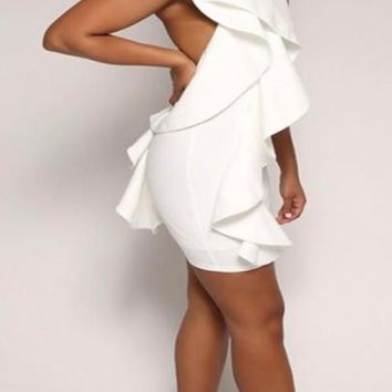 New Women White Plain Ruffle Halter Neck Backless Bodycon Homecoming Mini Dress