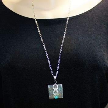 Square Silver Embossed Pendant with Sterling and Amazonite