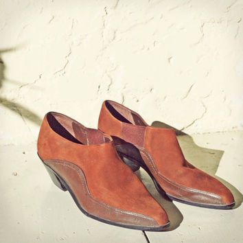 Vintage Brown Leather Ankle Boots Western Cowboy Mod motorcycle  80s 90s Grunge by Amanda Smith 7.5 8 7
