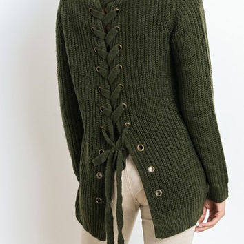 Kings Landing Lace Up Sweater - Olive