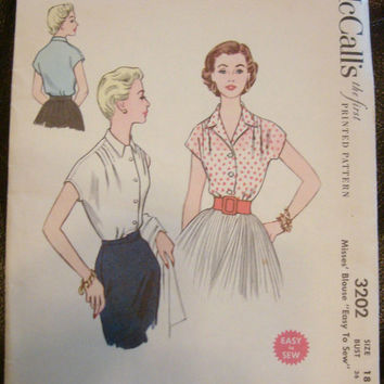 1950s Tailored Blouse Sewing Pattern UNCUT McCalls 3202 Sz18 Bust 36 Collar Choices