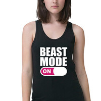 Women's Gym Tank - Pink Beast Mode Tank - Funny Workout Tank Top - Fitness Tank - Work Out Shirt - Running Tank - Sparkle - Exercise