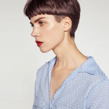 CONTRASTING PLUMETIS SHIRT - View All-TOPS-WOMAN | ZARA United States