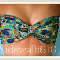Peacock Feather Bandeau Top Spandex Bandeau Bikini Swimsuit