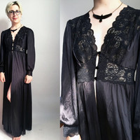 80s Clothes/ 80s Black Robe Vintage Lace Nylon House Coat Edwardian Style Goth Lingerie Size Medium
