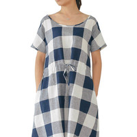 Navy Blue Plaid Drawstring Waist Mini Dress