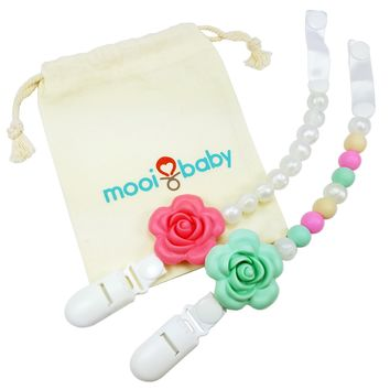 Silicone Pacifier Clip Set with Bag - Flowers and Pearls