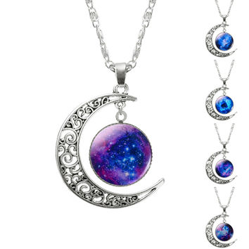 2016 New Hot Fashion Jewelry Choker Necklace Glass Galaxy Lovely Pendant Silver Chain Moon Necklace Free shipping