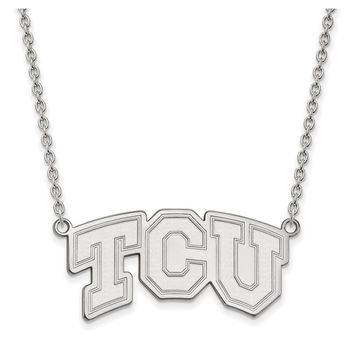 NCAA 10k White Gold Texas Christian U 'TCU' Pendant Necklace