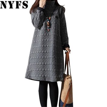 NYFS New Thick Winter Dress Women Long Sleeve Vintage large size Turtleneck Maternity Dress Vestidos Robe Elbise