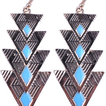 Champagne Gold Triangle Blue Angle Drop Earring