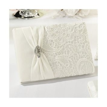 Cream Vintage Lace (Holds 990 Signatures) Guestbook