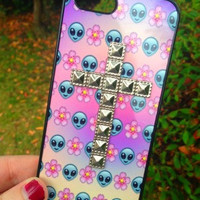 Studded Silver Cross Iphone 6 Phone Case Emoji Alien Floral Print Hipster Phone Cover