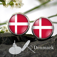 Denmark Flag stud Earring - Flag of Denmark Silver Plated Stud Earrings 12 mm - World Flag Earring supporter gifts