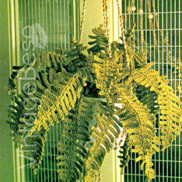 Vintage Crochet Pattern | Hanging Fern Plant | Artificial Plant-Crochet Pattern-House Plants-Boho Home Decor-Apartment Decor-Bohemian | USA
