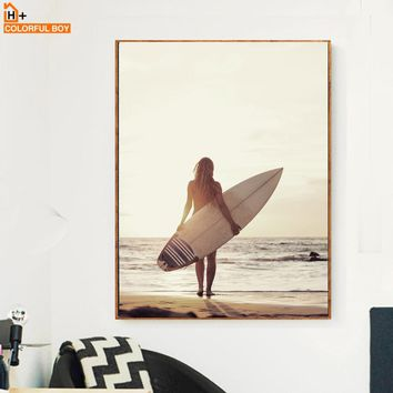COLORFULBOY Girl Surfboard Sea Landscape Wall Art Canvas Painting Nordic Posters And Prints Wall Pictures For Living Room Decor