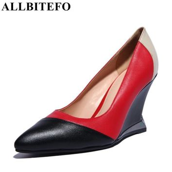 ALLBITEFO fashion brand Genuine Leather pointed toe mixed colors wedges women pumps fa