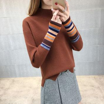 Turtleneck Knitted Women's Sweater 2018 Female And Girls Winter Oversized Jumper Women Fashion Cotton Sweaters And Pullovers