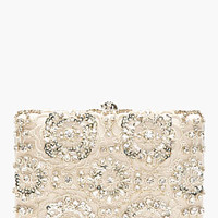Alexander Mcqueen Grey Embroidered Crystal Evening Book Clutch