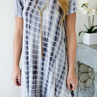 Searching For You Gray Tie-Dye Dress