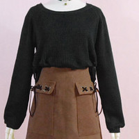 Brown with black ribbon tie skirt