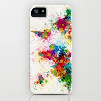 Map of the World Map Paint Splashes iPhone & iPod Case by ArtPause