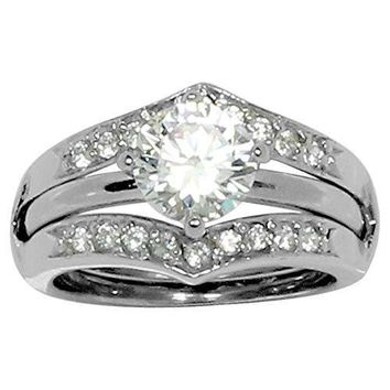 Round Prong Set CZ Engagement Style Ring in Ring Guard with 20 Small Accent Stones in Stainless Steel