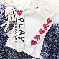 Play New fashion love heart eye letter print couple long sleeve top sweater White