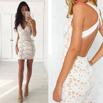 Hot Sale Women's Fashion Lace Deep V Sexy One Piece Dress [8096509831]