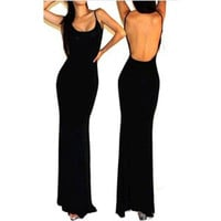 Black Backless Maxi Dress