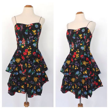 Vintage 1980s Black Floral Polka Dot Tea Dress Cotton Prom Gown Size Medium Peplum Dress 80s Bridesmaid Punk Party Dress Rockabilly Sundress