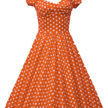 Polka Dot Print Short Sleeve Sheath Midi Tent Dress