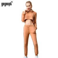Gagaopt 2016 New Autumn Tracksuit Women Hoodies 2 Piece Set Khaki/Black (Hooded Sweatshirt+Long Pants) Leisure Suits Agasalho-in Women's Sets from Women's Clothing & Accessories on Aliexpress.com | Alibaba Group
