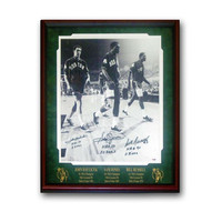 Autographed 3 signature 16X20 inch frame photo signed by John Havlicek, Sam Jones and Bill Russell.