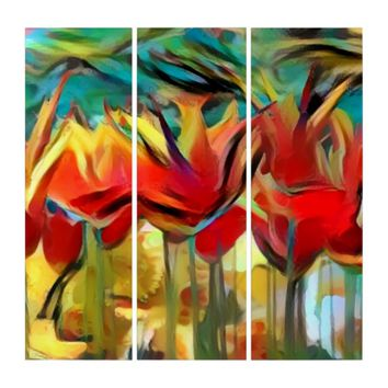 Red abstract painted tulips, flowers, floral print triptych