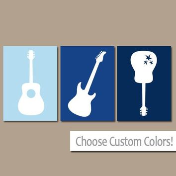 Blue GUITAR Wall Art, Music Theme Nursery Boy Bedroom Pictures, CANVAS or Prints Music Art Rock N Roll Rock and Roll Set of 3 Nursery