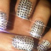 Silver Metallic Rhinestone Nail art Kit including nail silver chrome nail wraps and rhinestones