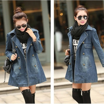 Winter and Autumn Women's fashion long sleeve denim coat jeans jecket = 1930021316
