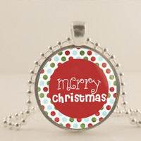 "Red Merry Christmas, 1"" glass and metal Pendant necklace Jewelry."
