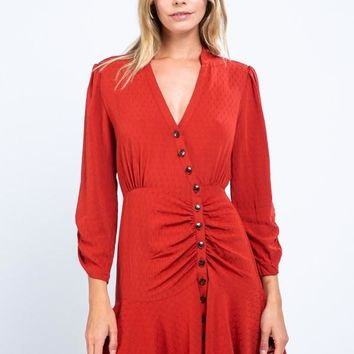 Button-Front Textured Ruched Dress