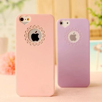 HIgh Quality Candy Color Phone Case For iPhone 6 6S 6/6S Plus 4 4S 5 5S SE Loving Heart Flower Lace Hard Phone Cases Back Cover